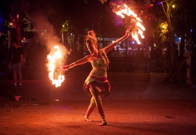 woman juggling fire